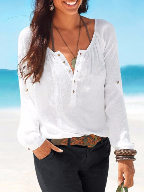 Solid Crew Neck Casual Gathered Blouse