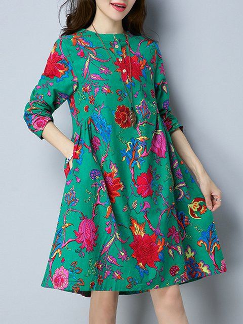 Linen Pockets Floral Casual Daytime Dress Women Shift Casual qwxTZEB