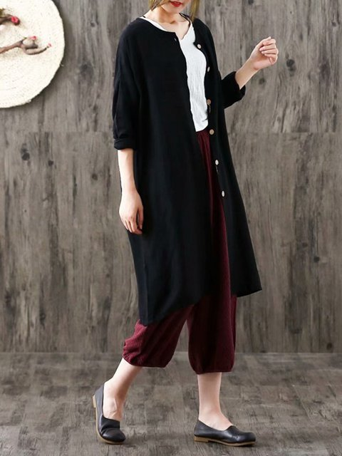Long Casual Linen Cardigan Solid Cotton Sleeve 68OOAnWU0