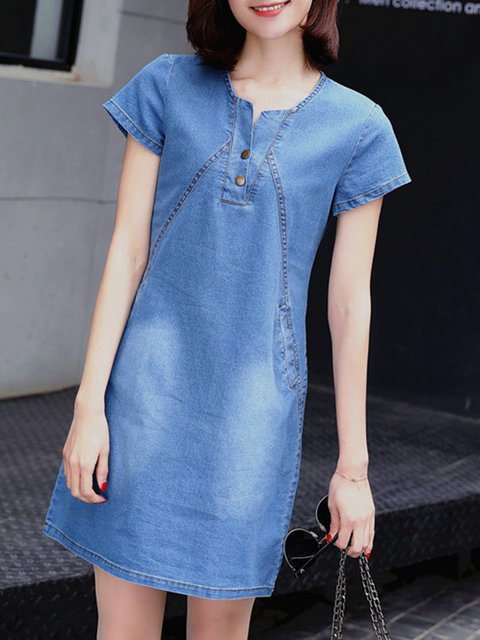 A-line Women Daytime Short Sleeve Casual Buttoned Casual Dress