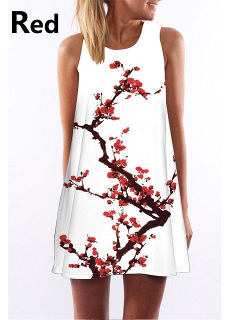 Women   Daytime Sleeveless Printed Floral Dress