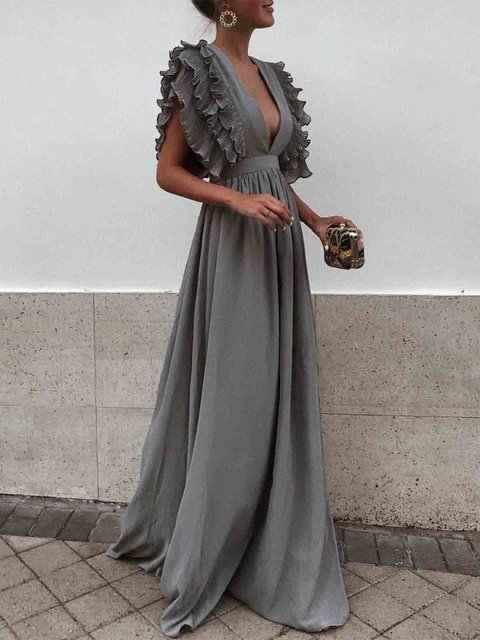 V neck  Swing Women Daily Sleeveless Basic Paneled Solid Prom Dress
