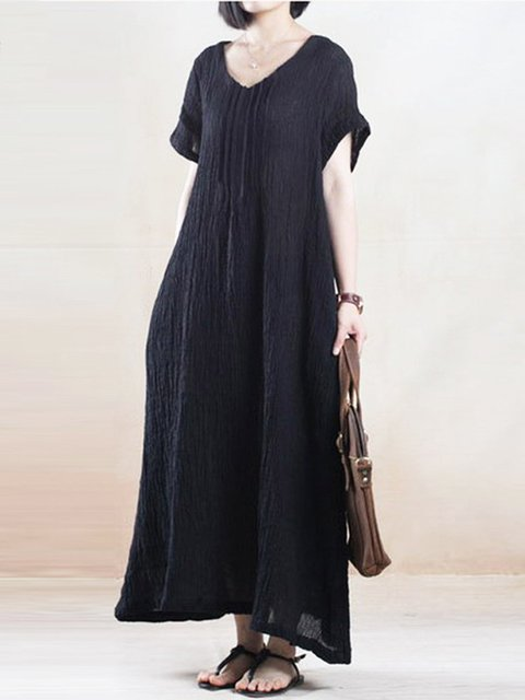 Plus Size Crew Neck Women Dress Shift Daytime Casual Cotton Solid Short Sleeve  Linen Dress