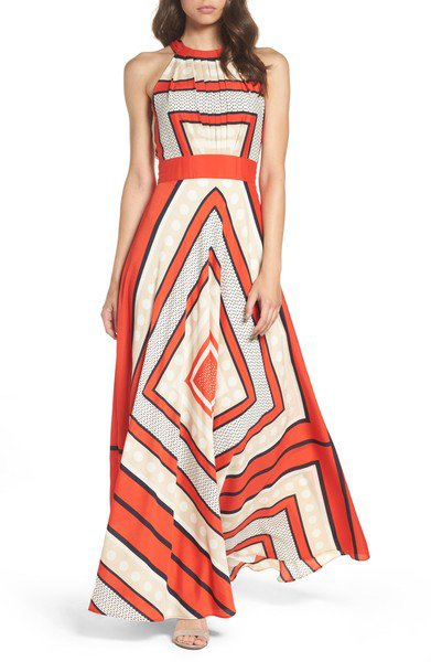 Halter  A-line Women Beach Casual Sleeveless  Geometric Prom Dress