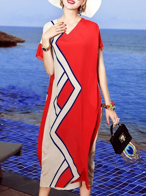 Red Shift Women Daily Short Sleeve Striped Prom Dress