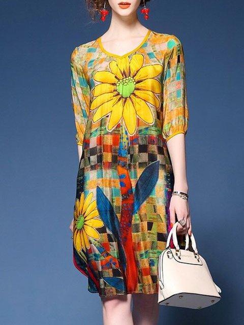 Asymmetrical Women Daytime Half Sleeve Casual Slit Elegant Dress
