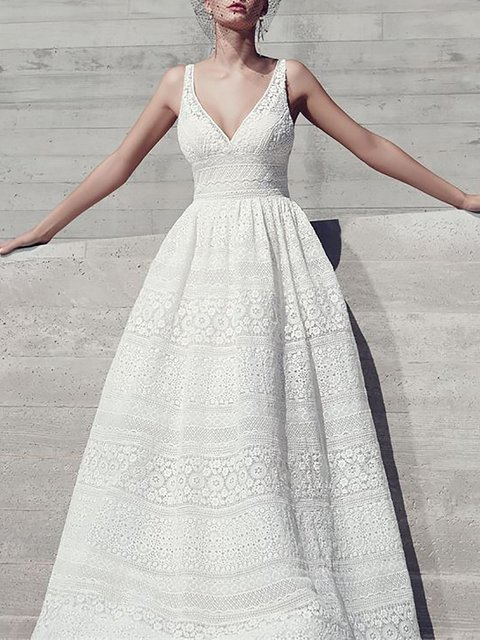 White  Women Prom Spaghetti Lace Guipure lace Plain Prom Dress