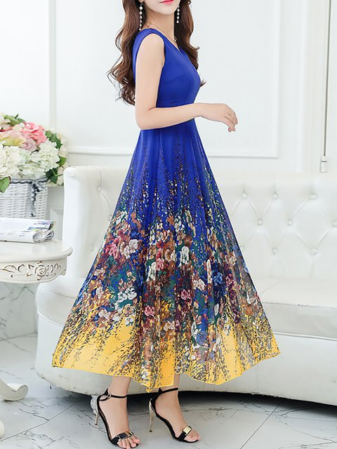 Women Daytime Vintage Sleeveless Printed Floral Elegant Dress