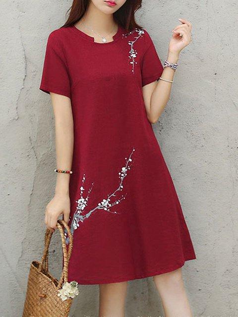 Stand Collar  Women Daily Short Sleeve Cotton Floral-print  Elegant Dress