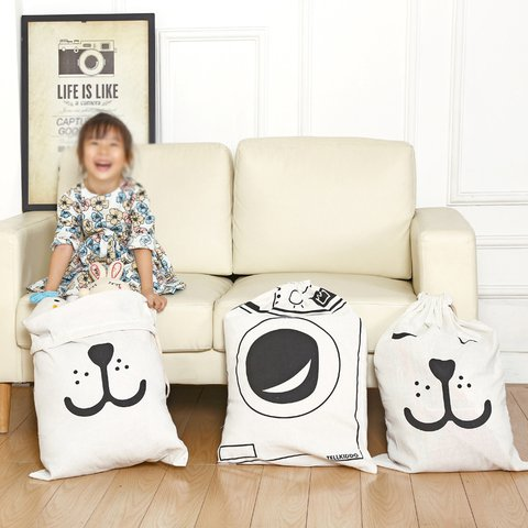 Multi-function Casual Drawstring Linen Large Capacity Toy Storage Bags