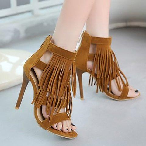 Plus Size Fashion Solid Tassel High Heel Sandals Nubuck Pumps