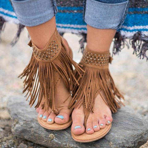Large Size Fringed Buckle Sandals