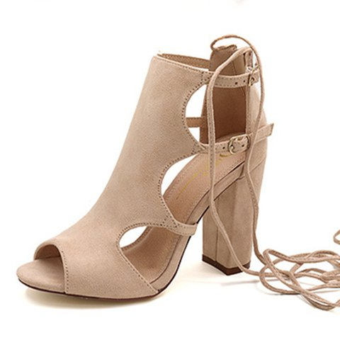Gladiator Lace Up Daily Flocking Pumps
