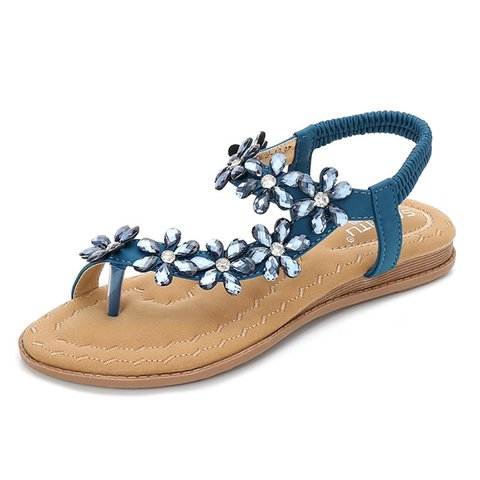 Rhinestone Clip Toe Bohemia Sandals