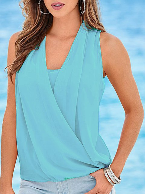Casual V Neck Plain Sleeveless T-Shirts