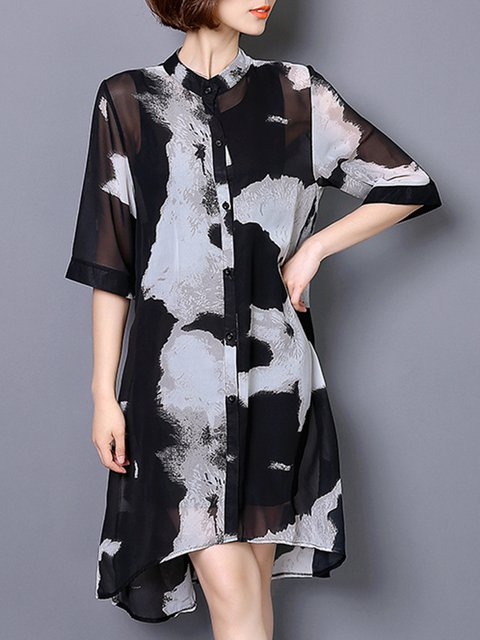 Stand Collar Women Daily Casual -print  Half Sleeve  Plus Size Casual Dress