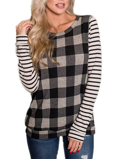 Long Sleeve Casual Crew Neck Color-block T-Shirts