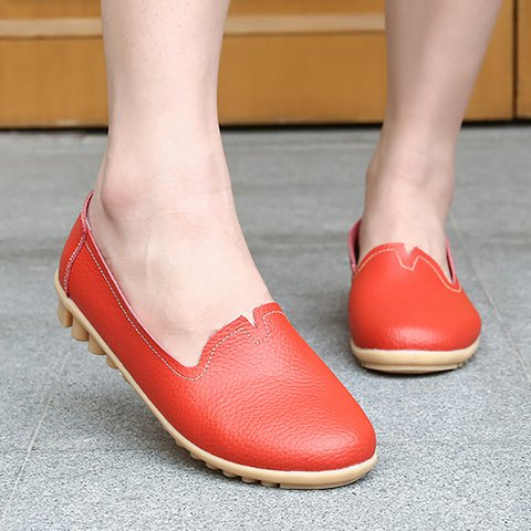 Casual Daily Leather Slip On Flat Heel Flats