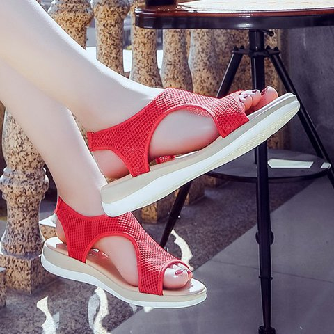 Plus Size Hollow-out Elastic Slip On Sandals