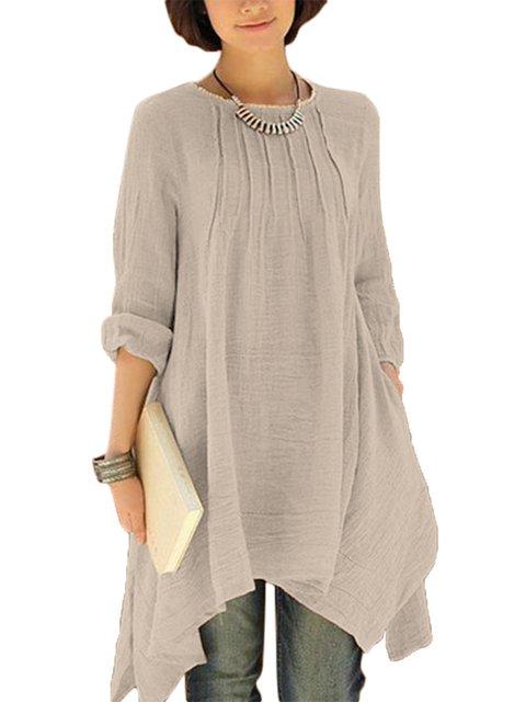 Long Asymmetrical Shirts Sleeve Women Loose Pure Color dvwv1WqaZ