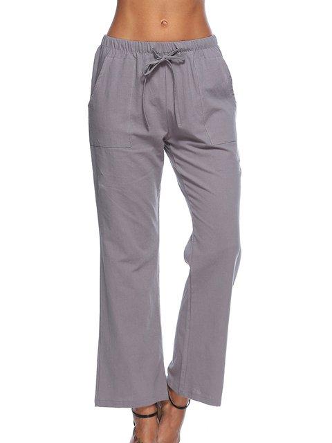 Women Casual Cotton Solid Wide Leg Pants