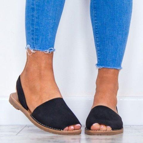 Summer Women Flip FlopArtificial Suede Peep Plus Size Toe Slip on Sandals