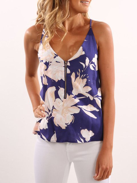 Random Floral Print V-neck Cami with Zipper Design