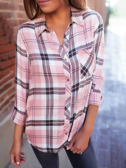 Turn Down Collar Single Breasted Plaid Shirts Blouses