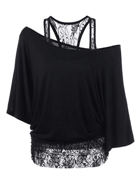 Sexy Lace Patchwork Cold Shoulder T-Shirt