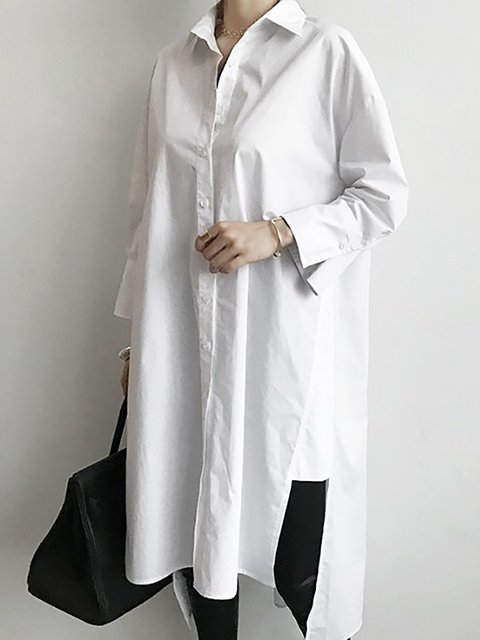 White Shift Women Daytime Long Sleeve Cotton Paneled  Casual Dress