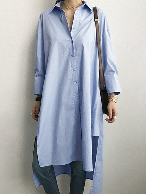 Blue High Low Women Daytime Cotton Long Sleeve  Solid Casual Dress