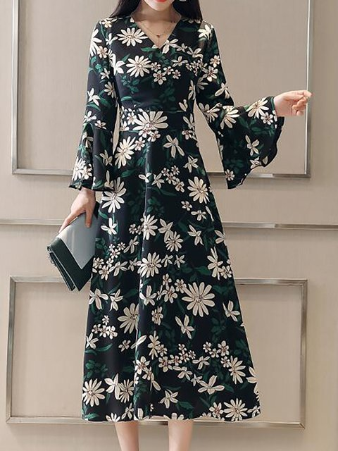 V neck  A-line Women Long Sleeve Floral Elegant Dress