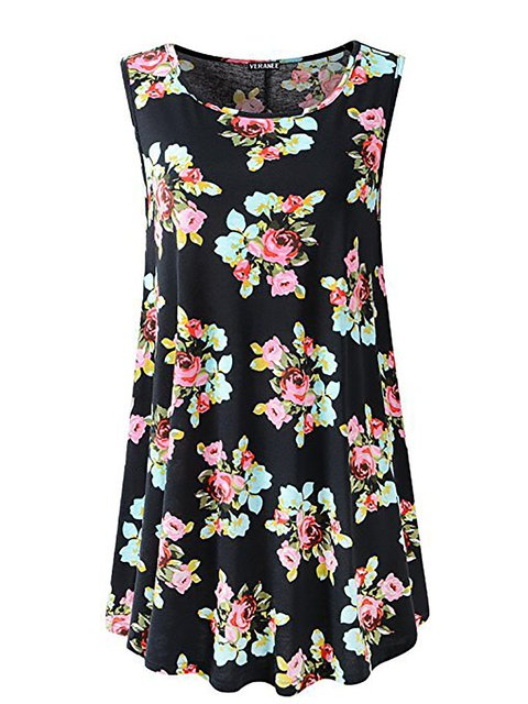 Women Going out Cotton Sleeveless Paneled Floral Floral Dress
