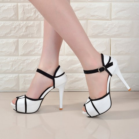PU Adjustable Buckle High Heel Pumps