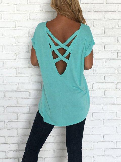 Chic Short Sleeve Cotton-blend T-Shirt