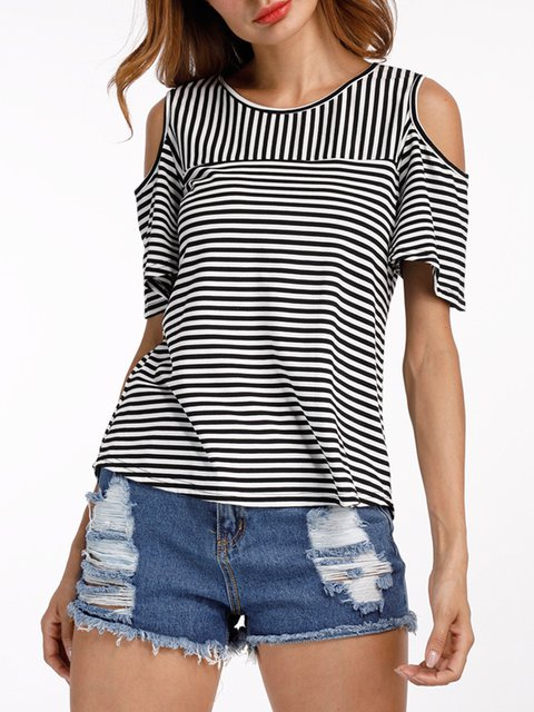 Stripe Crew Neck Cold Shoulder T-Shirt