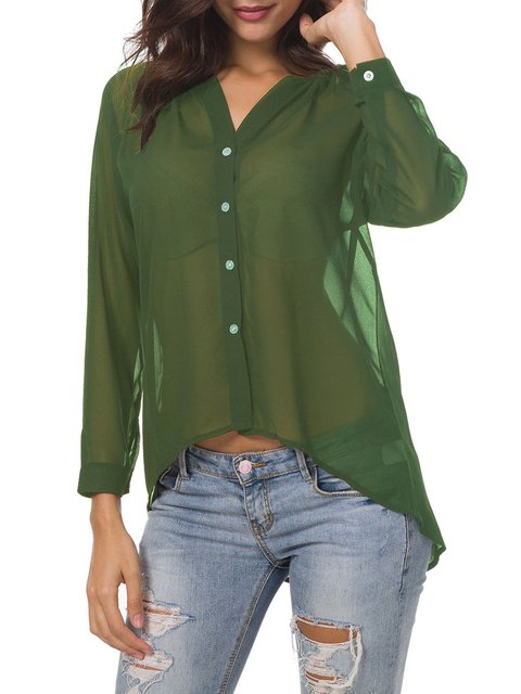 Chiffon Solid Long Sleeve V Neck Shirts Blouse