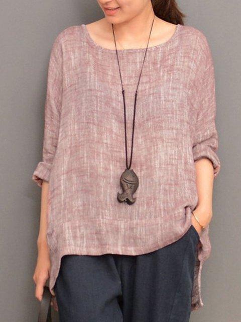 Plus Size Long Sleeve Cotton-blend Shirts Blouse