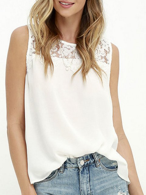 Sweet Lace Paneled Sleeveless T-Shirt