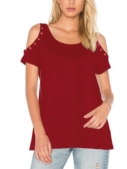Crew Neck Cold Shoulder T-Shirt