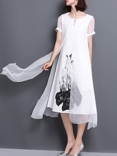 Women Daytime Short Sleeve Cotton Paneled Floral Elegant Dress