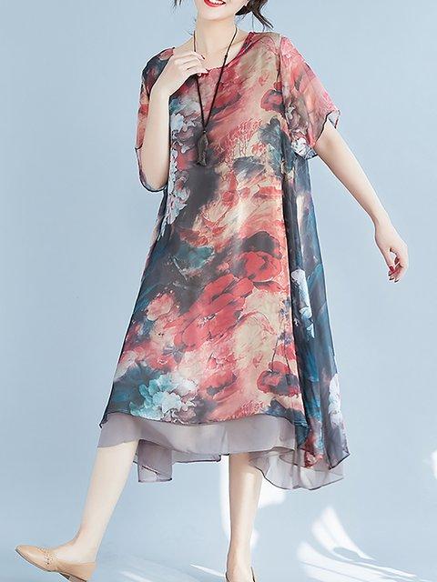 A-line Women Date Casual Short Sleeve Paneled Floral Elegant Dress
