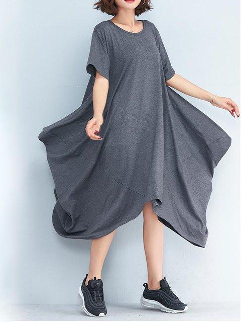 Swing Women Cotton Short Sleeve Casual Paneled  Casual Dress