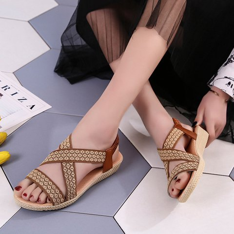Flat Heel Elastic Band Fabric Sandals