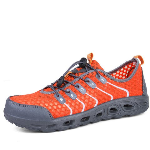 Men Bungee Closure Mesh Textile Quick Drying Upstream Shoes