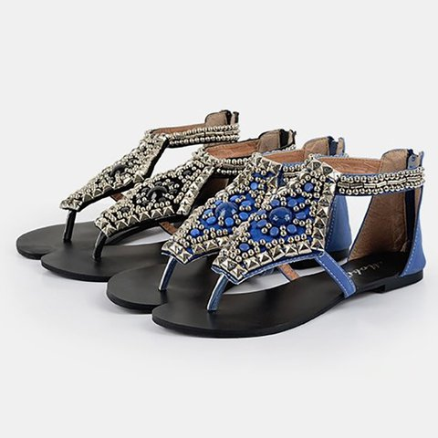 ea4d7dea1 Vintage Beaded Toe Post Gladiator Sandals - JustFashionNow.com