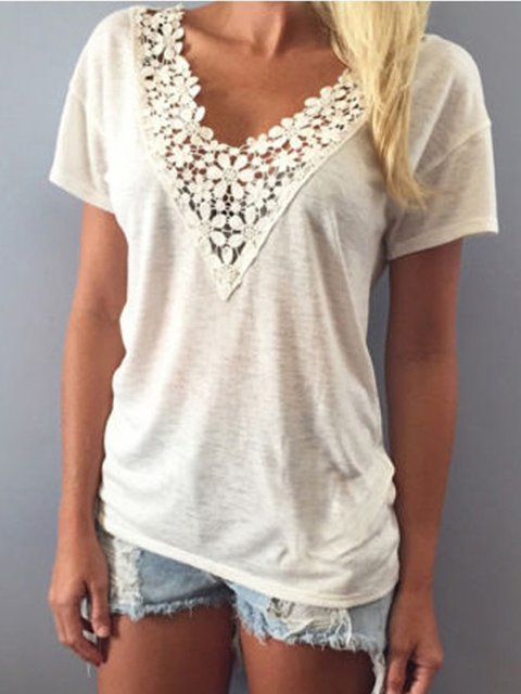 Cream Short Sleeve V neck T-Shirt