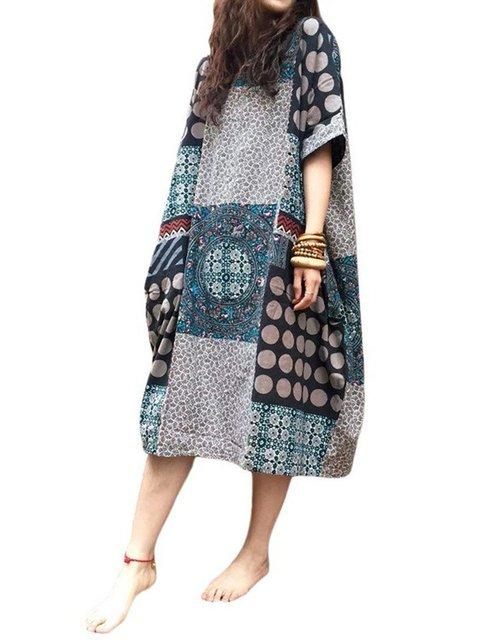 Cocoon Women Daytime Elegant Short Sleeve Paneled Casual Dress