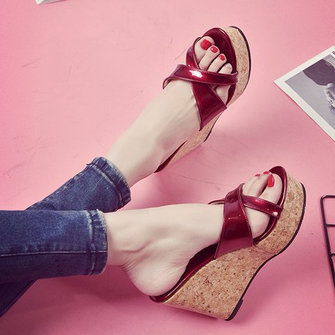 PU Wedge Heel Slip On Daily Shoes