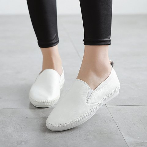 Casual Slip On Flat Heel Micro Leather Loafers